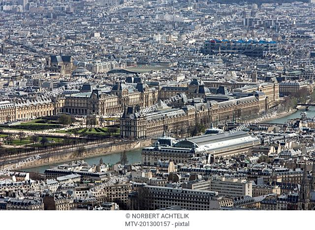 High angle view of Pyramide du Louvre, Paris, France