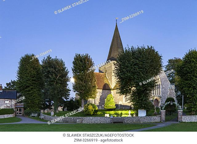 Evening at St Andrew's church in Alfriston village, East Sussex, England