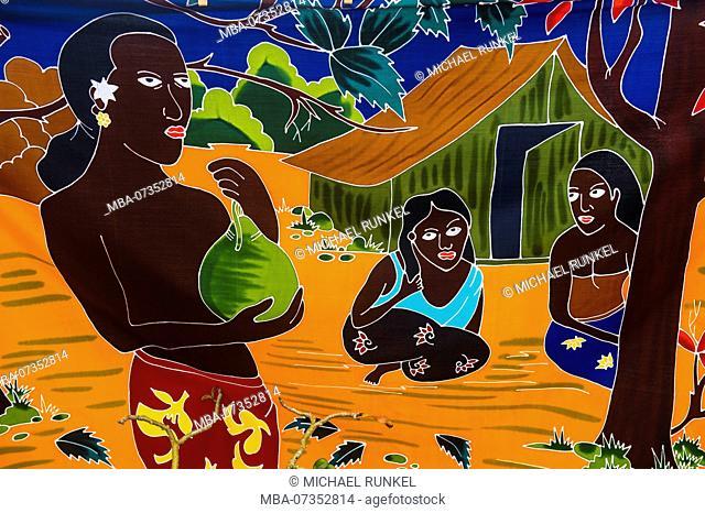 Batik sheets for sale, Bora Bora, French Polynesia