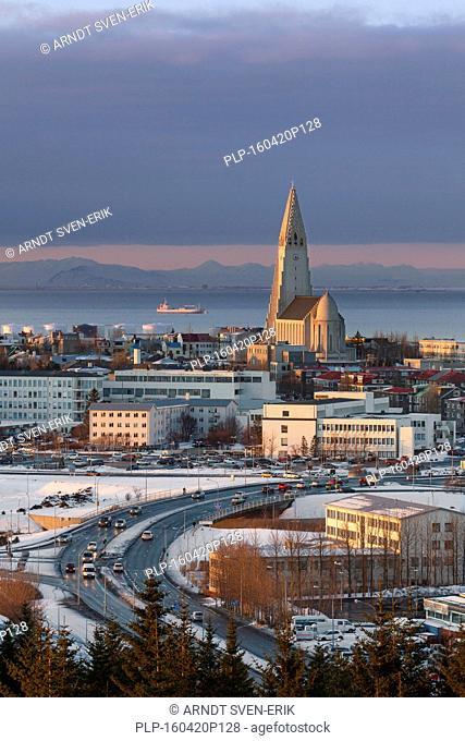 View over the Lutheran Hallgrímskirkja / church of Hallgrímur in Reykjavík, capital city of Iceland in winter