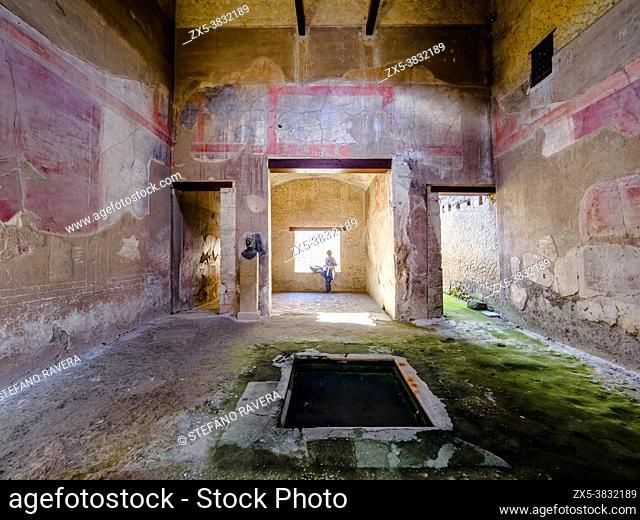 Atrium - House of the Bronze Herma ( Casa dell'erma di Bronzo) - Herculaneum ruins, Italy