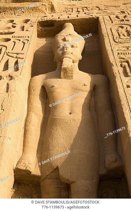 bas relief statue of Ramses at the Hathor Temple of Queen Nefertari at Abu Simbel in Egypt