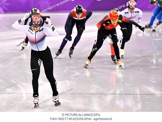 Minjeong Choi (L) from South Korea celebrating her victory during the women's 1500m short track speed skating event of the 2018 Winter Olympics in the Gangneung...