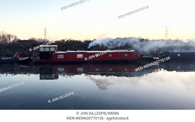Londoner's awoke to temperatures below freezing this morning as the cold snap continues. A commuter photographed the sunrise with mist on the river Lea in...