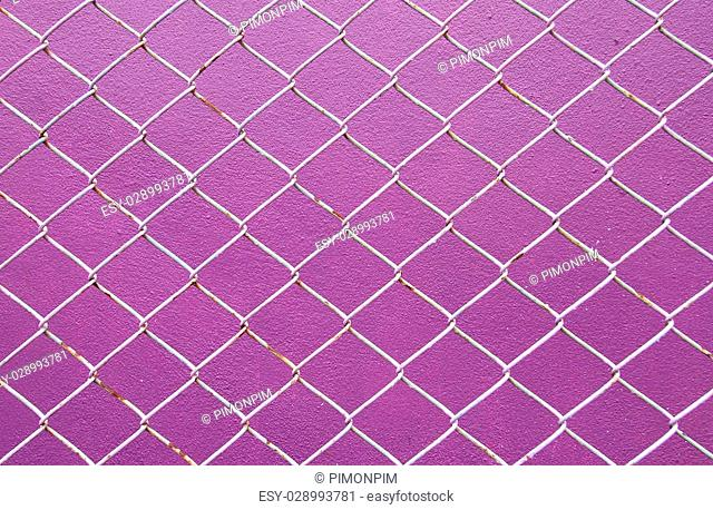 Wire Mesh, iron wire fence on the wall purple background