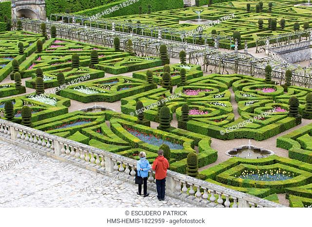 France, Indre et Loire, Loire Valley listed as World Heritage by UNESCO, Villandry, Chateau de Villandry gardens, property of Henri and Angelique Carvallo