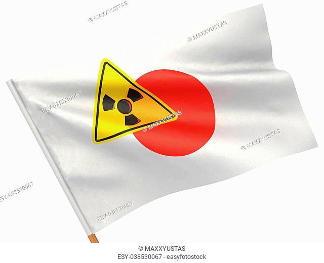 Japanese flag wiyh symbol of radiation. 3d