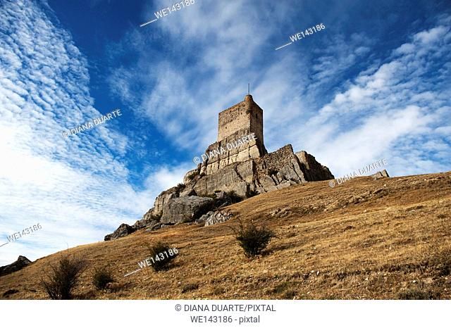 Atienza is a clear example of a rock castle built on a tall abutment of rock. Atienza, Gudalajara, Spain