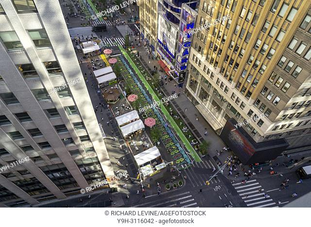 The Garment District Urban Garden in New York on Tuesday, June 19, 2018. Several blocks on Broadway will be turned into the Garment District Urban Garden for...