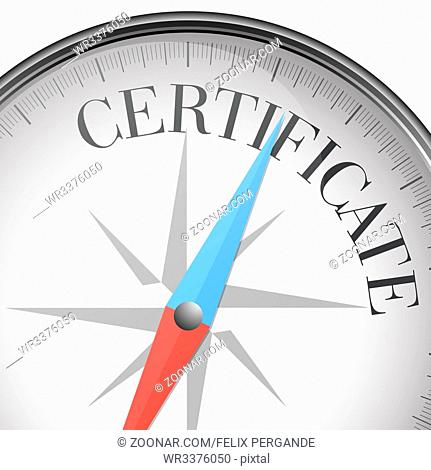 detailed illustration of a compass with certificate text, eps10 vector