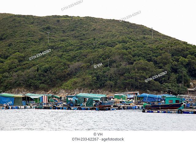 Fish farm at the coast of High Island, Hong Kong