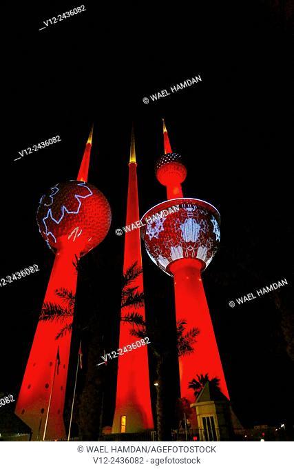 Lights show at Kuwait Towers at night, Kuwait, Kuwait City