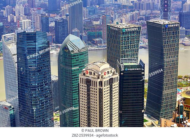 City skyline of skyscrapers, Pudong, Shanghai, China