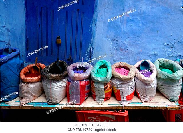 Traditional natural pigments, Kasbah, Chefchaouen, the blue pearl, village northeast of Morocco, North Africa, Africa