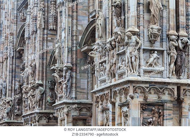 Abstract image of complex details on the front exterior wall of the Duomo, Milano