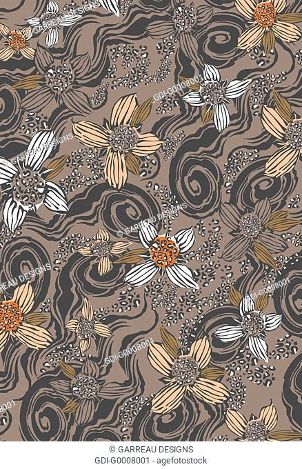 Tropical flowers on tan background