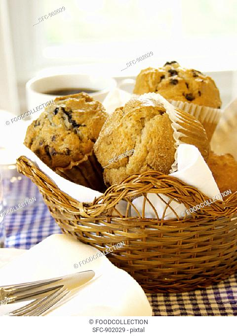Assorted Muffins in a Basket