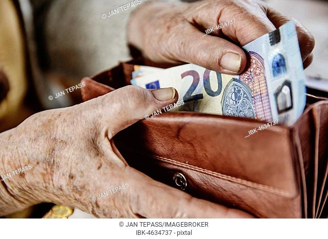 Senior citizen pulls a 20 euro note from her wallet, Germany