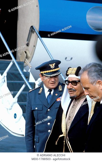 The President of the Socialist Federal Republic of Yugoslavia Lazar Kolisevski welcoming the Emir of Kuwait Jaber III Al-Ahmad Al-Jaber Al-Sabah who just landed...