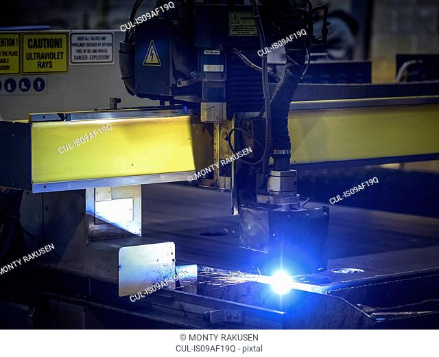 Detail of plasma cutter in factory