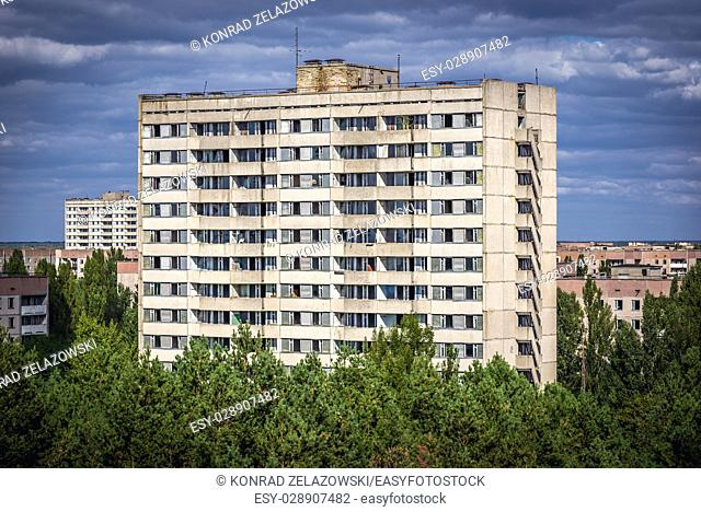 16-storey residential buildings in Pripyat ghost town in Chernobyl Nuclear Power Plant Zone of Alienation around nuclear reactor disaster, Ukraine