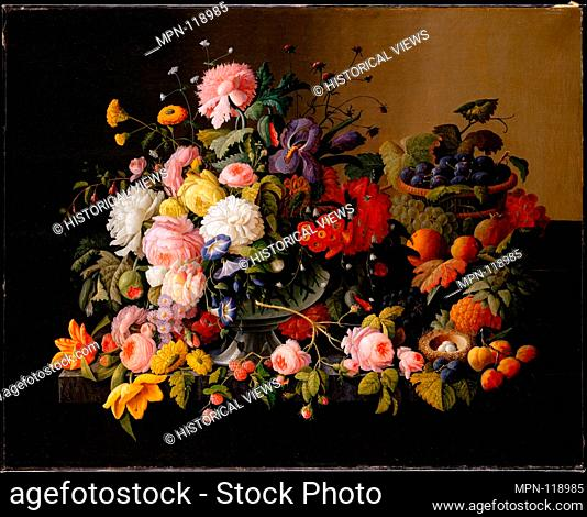 Still Life: Flowers and Fruit. Artist: Severin Roesen (American (born Prussia), Boppard-am-Rhein 1816-72?); Date: 1850-55; Medium: Oil on canvas; Dimensions: 40...