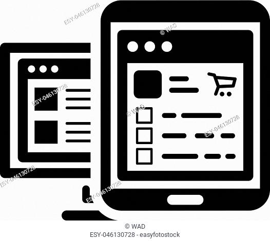 Shop APP Icon. Business Concept. Flat Design Isolated Illustration. App Symbol or UI element. Tablet with shop application