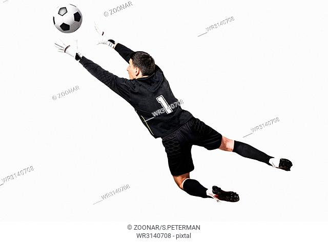 Soccer or football keeper catching ball