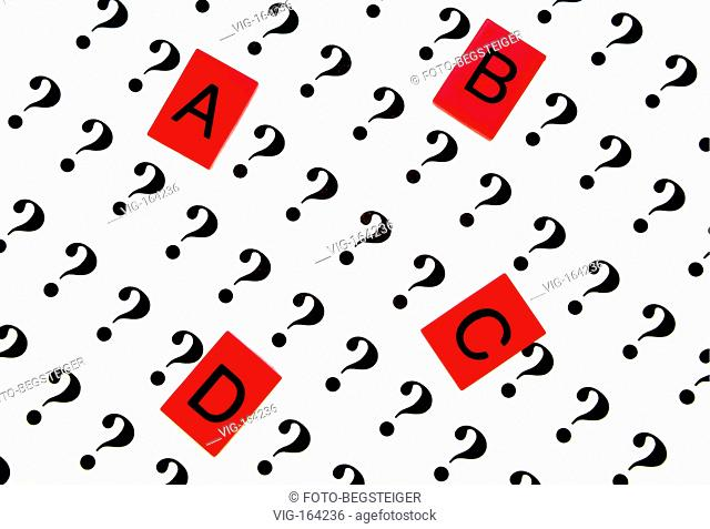 Symbolbild A, B, C, oder D, Entscheidungsfreiheit, mehrere Moeglichkeiten zur Aus. - 24/11/2005