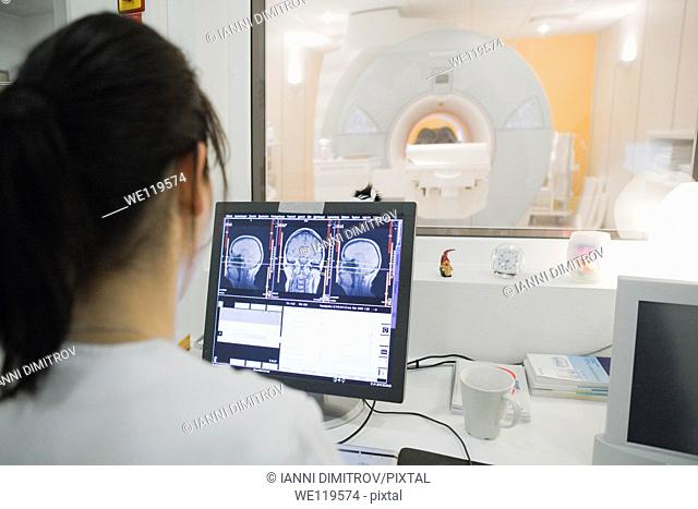 Female radiologist at work