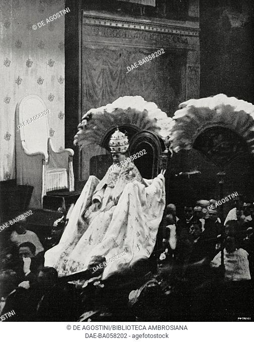 Pope Pius XI on the gestatorial chair on the occasion of the 1st anniversary of his election, February 12, 1923, Sistine Chapel, Vatican City