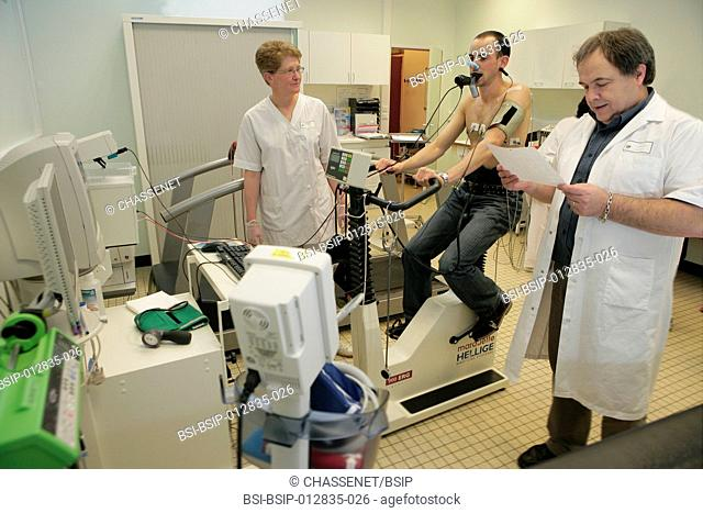 Photo essay at Caen hospital in France. Pulmonary function testing: exercise test