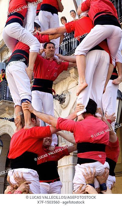Colla Joves Xiquets de Valls 'Castellers' building human tower, a Catalan tradition Plaça de la Vila  Vilanova i la Geltrú, Barcelona province, Catalunya, Spain