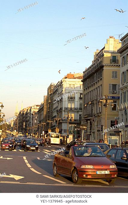 Traffic along Canebiere Street at sunset, Vieux-Port, Marseille, France