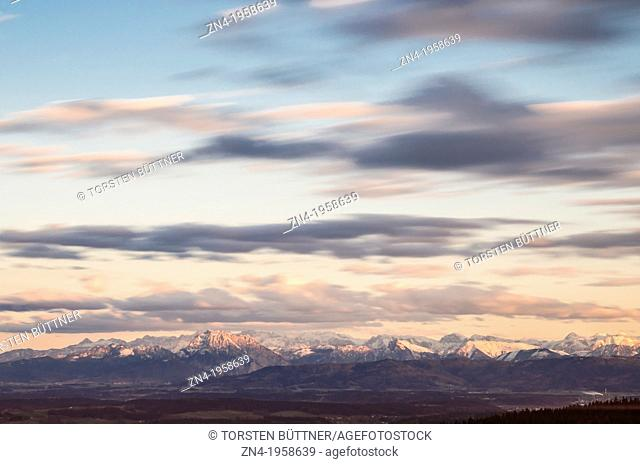 View from Low Mountain Range Hausruck to Northern Limestone Alps. Austria