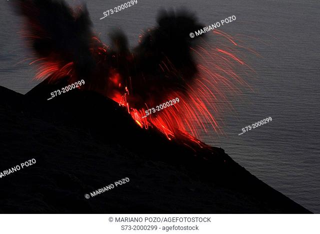 Stromboli volcano eruptions, Sicily, Italy