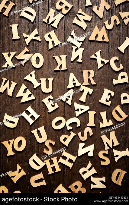 Letters on a wood table