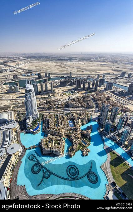 Dubai. United Arab Emirates. Drone view of downtown district. January 2020