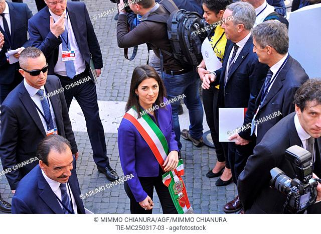 Mayor of Rome Virginia Raggi . Celebrations of the 60th anniversary of the Treaties of Rome. Arrivals to the Capitol. Rome. Italy 25/03/2017