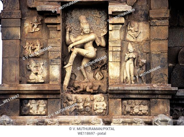 Nataraja on the exterior wall of the Siva templeat Gangaikondacholapuram, Tamil Nadu, India  Gangaikondacholapuram was established as a capital city by the...