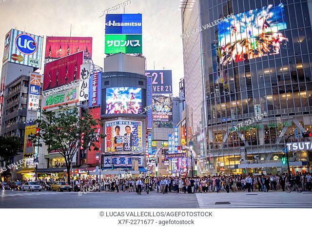 Shibuya.Scramble Kousaten crossing in Hachiko square. Tokyo city, Japan, Asia