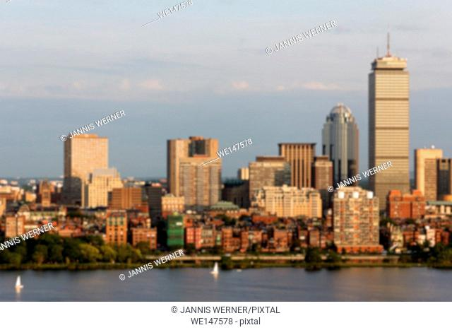 Blurred background of the skyline of Boston, MA, USA