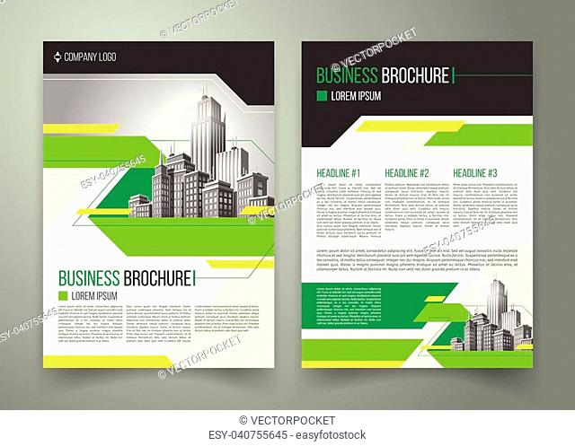 Vector flyer, cover design of the companys annual business report, magazine page, presentation template with green elements and black white buildings