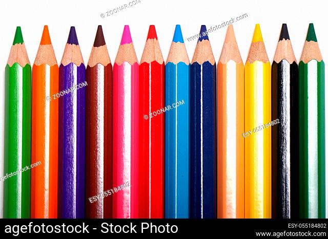 Close up of colorful pencils