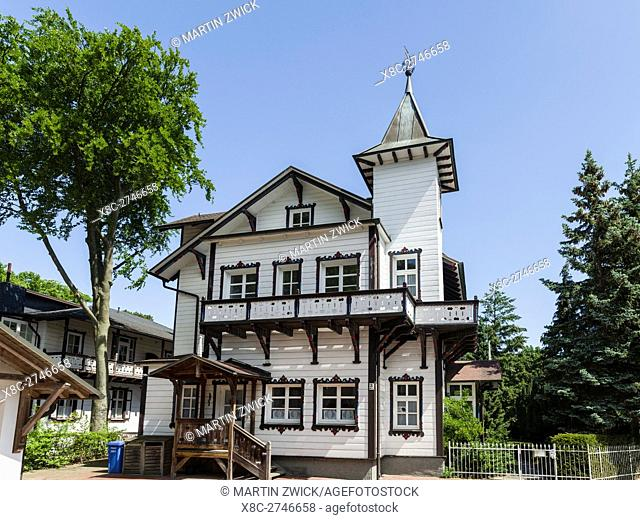 Villa at a waterfront location. German resort architecture (Baederarchitektur) in the seaside resort Heringsdorf on the island of Usedom