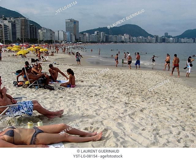 People, beach, City, Copacabana, Rio de Janeiro, Brazil