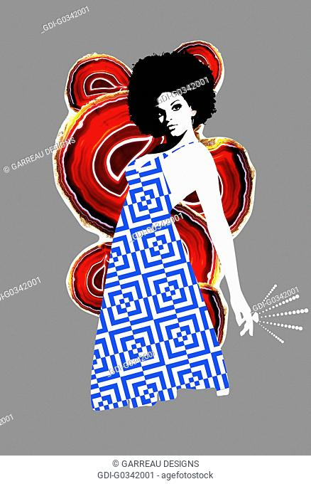 Afro disco woman on gray background