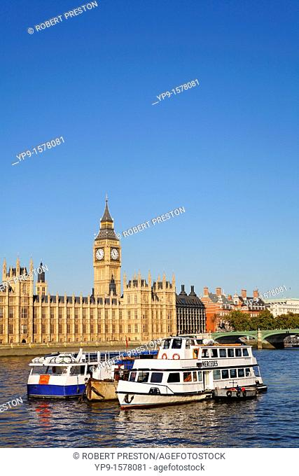 Big Ben and the Houses of Parliament by the River Thames, London, UK