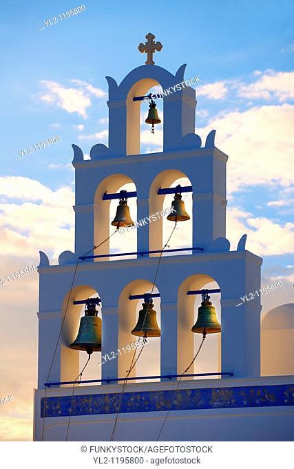 Oia, Ia Santorini - Bell tower of Byzantine Orthodax churches, - Greek Cyclades islands