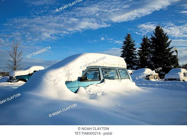 View of snowcapped car